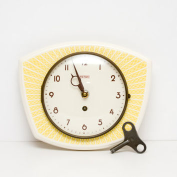 German Wall Clock, Ceramic Kitchen Clock, Vintage Retro Clock, Citrine Yellow, Hostess Gift, Gift for her, Sun, Sunshine, ohtteam