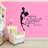 Wall Decal Vinyl Sticker Decals Art Decor Design Coco Chanel Quote Fashion Girl Style Woman Inspire Bedroom Modern Kids Children (r543)