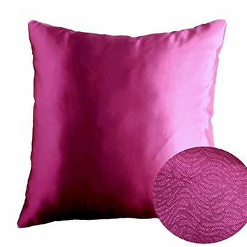"Magenta Haze Dark Fuchsia 18"" x 18"" Decorative Textured Satin Cushion Cover Throw Square Pillowcase for Chair Sofa Living Room Accent Pillow"
