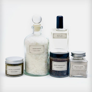 Pampering Body Care Gift Set - organic luxury - body scrub, herbal face wash, bath salts, facial mask, body oil - gift set - mother's day