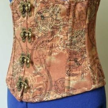 Steampunk Gears Of Industry Steel Boned Underbust Corset