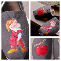 Disney's Grumpy of the Seven Dwarves Custom Painted TOMS Snow white Apple Wearable art