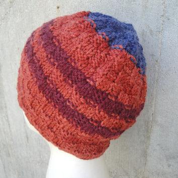 Striped Beanie in Merino Wool, Father's Day for Dad, Hand Knit, Teens & Men, Basketweave Hat