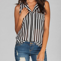 Diva Lounge Open Pocket Striped Womens Top Black/White  In Sizes