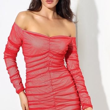 Don't Mess With Me Red Sheer Mesh Long Sleeve Off The Shoulder Pleated Bodycon Casual Mini Dress