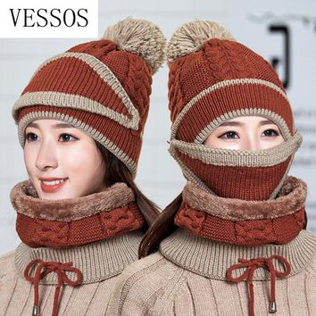 2018 New Knit Beanies Hat Mask Scarf 3 Pieces Set Winter Hat Woman Warm Thicken Hedging Cap Ski Soft Scarves