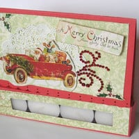 Christmas Greeting card, A Merry Christmas from Jolly Old St Nick paper handmade greeting card, Christmas tealight candle card