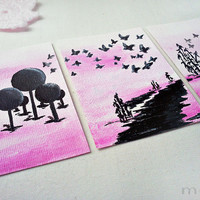 original art aceo card set - pink and black acrylic painting