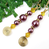 Purple Pink Pearl Earrings Yellow Crystal Wire Spirals Handmade Beaded