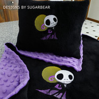 Jack SkeLLinGToN NiGHTMaRe Before ChRiSTmAS BABY PiLLOW EMBROiDERED PERSoNALiZeD Matching BLANKeTS avail Designs by Sugarbear IN SToCK