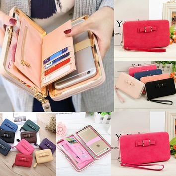 13 Colors Fashion Large Capacity Wallet Cute Bowknot Pocket Wallet Long Purse Phone Card Holder Clutch Party Zipper Women Handba