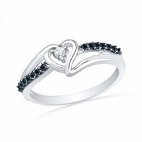 Sterling Silver Round Diamond Black And White Heart Promise Ring (1/10 Cttw)