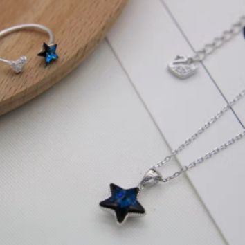 925 sterling silver full zircon Blue star necklace/ring  D2768 -0414 -Gifts box