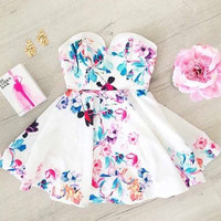 Feelingirl new fashion spring and summer dresses flower printed dress sleeveless Strapless casual dress women = 1697092420