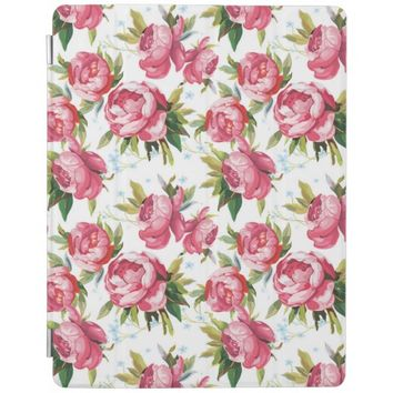 Stylish Vintage Pink Floral Pattern iPad Cover