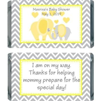 18 Yellow Elephant Baby Shower Miniature Chocolate Bar Wrappers