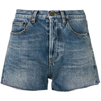 Saint Laurent Raw Hem Pocket Trim Denim Shorts - Farfetch