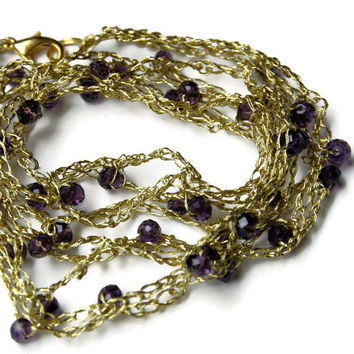 Metallic Gold Puple Crochet Necklace/ Long Formal Necklace/ Special Occasions Jewelry/ Sparkling Holiday Necklace/ OOAK Unique Contemporary