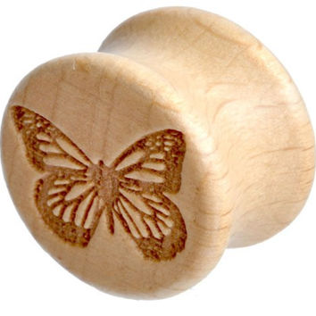 Wooden Ear Plug with Carved Butterfly Design Sold As a Pair 8mm 0 Gauge
