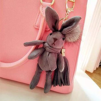 Handmade lint deerskin rabbit doll keychain hanging drop key ring girls gift