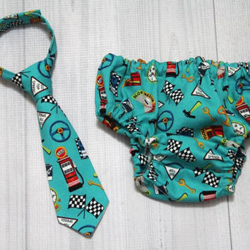 Race Car theme Diaper Cover and tie set. choose sizes