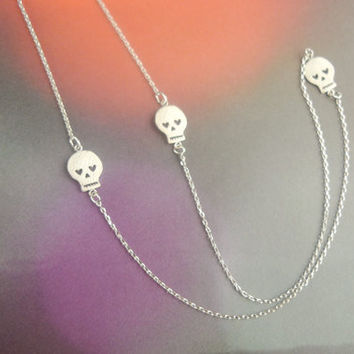 silver three skulls long necklace by LemonTreeLand on Etsy