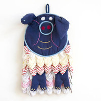 Vintage Pig Oven Mitt, Kitschy Handmade Blue Pot Holder Cute Farmhouse Kitchen Decor, Quirky Gift