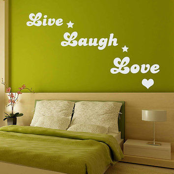 Wall Decal Quotes Live Laugh Love Decal Heart Vinyl Bedroom Home Decor Art MR597