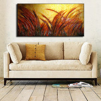 ORIGINAL Large Abstract Contemporary Landscape Heavy Texured Modern Multicolored Painting by Henry Parsinia Ready to Hang 48x24