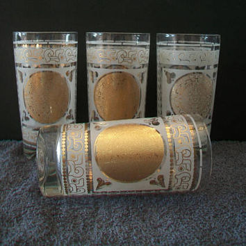 Aztec Mayan Calendar Tumbler Glasses Vintage Barware Cocktail High Balls Dining Entertaining