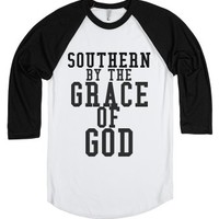 Southern By The Grace Of God-Unisex White/Black T-Shirt