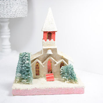 Mica Putz Church / large Putz house of worship / Japan / red steeple / white snow / green seaweed trees / church bell / Christmas decor pink