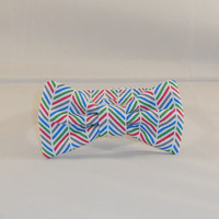 Boy's Herringbone Red, Blue, Green and White Bow Tie With Adjustable Closure