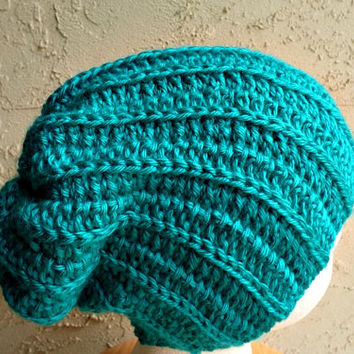 Green Slouch - Crochet Slouchy Beanie - Womens Slouchy Hat - Ribbed Beanie - Hipster Hat