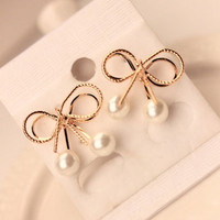 Double Golden Bow Pearl Earrings