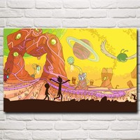 Rick and Morty Cartoon Space Animation Planet Art Silk Poster Decor Painting 12x19 15x24 19x30 22x35 30x48 Inch Free Shipping