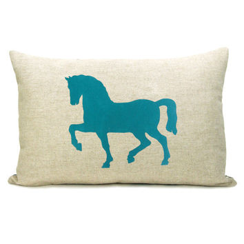 Decorative pillow case Teal blue horse print by ClassicByNature