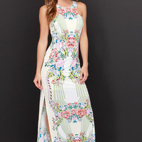 Tropi-Cali Livin' Cream Mirror Print Maxi Dress