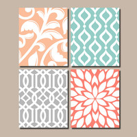 CORAL AQUA GRAY Nursery Wall Art, Trellis Pattern Swirl Design,Canvas or Print,Bathroom Artwork,Bedroom Pictures,Flower Burst Decor,Set of 4