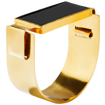 Aesa Reeve Cuff - Gold and Black Cuff - ShopBAZAAR