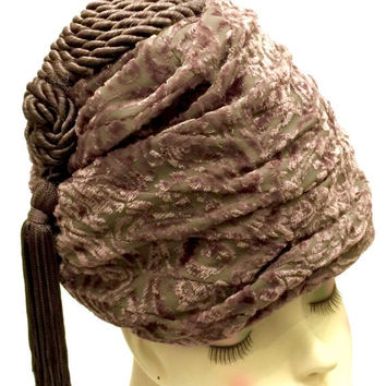 Rare Sable Brown Oscar de la Renta Hat, Bee Hive or Turban, Patterned Velvet, Vintage Hat, Assymetrical Braided Tassle, Designer Signed
