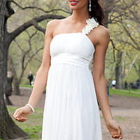 Ivory Short One Shoulder Dress with Empire Waist