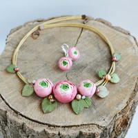 Pink flower necklace, Pink jewelry set, Ranunculus jewelry, Pink ranunculus set, Ranunculus wedding necklace, Cottage chic jewelry set