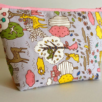 Medium Storybook Animals Cosmetic Bag Makeup Pouch Gadget bag