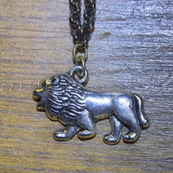 Lion Charm, Creature Jewelry, Minimalist Necklace, Lion Totem, Mens Jewelry, Lion Necklace, Wild Pendant, Animal Necklace, Gift Idea