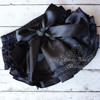 Black Satin Ruffle Bloomers- Diaper Cover - Baby Girl Outfit- Newborn Outfit - Cake Smash Outfit- Photo Prop