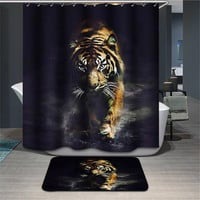 Elephant Tiger Shower Curtain with Hooks