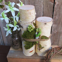 Centerpiece, Rustic Centerpiece, Birch Wood Logs, Wedding Centerpiece