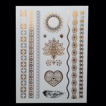 Body art painting tattoo stickers glitter gold temporary flash tatoo Disposable indians tattoo for women tattoos ideas