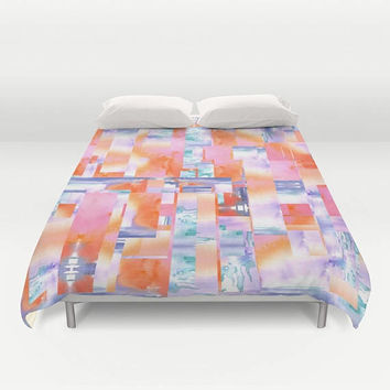 "Watercolor Duvet Cover or Comforter, ""Celebrate Spring"" watercolor bedding, orange, pink, colorful, beautiful, master bedroom decor"